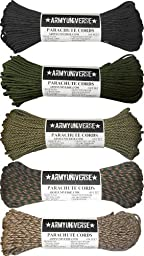 Nylon Camouflage Paracord 550lbs Cord Rope Value Pack - 5 Colors - 100 Feet Each Paracord!