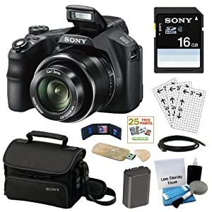 Sony Cyber-shot DSC-HX200V 18.2MP Exmor R CMOS Digital Camera with 30x Optical Zoom and 3.0-inch LCD + Sony 16GB SD Card + Sony Case + Replacement Battery Pack + Mini HDMI Cable + Accessory Kit