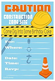 Construction Birthday Party Invitations – Fill In Style (20 Count) With Envelopes
