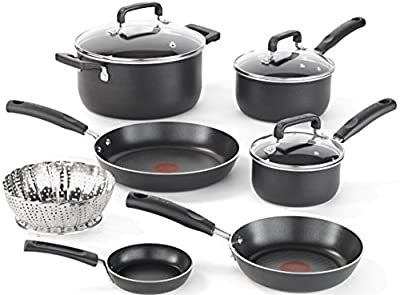 T-fal C111SA Nonstick Dishwasher and Oven Safe Thermo Spot Cookware Set, 10-Piece, Black