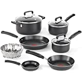 T-fal C111SA Signature Nonstick Dishwasher and Oven Safe Thermo Spot 10-Piece Cookware Set, Black