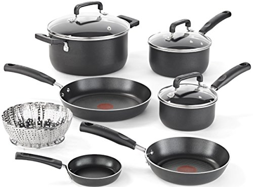 T-fal C111SA Nonstick Dishwasher and Oven Safe Thermo Spot Cookware Set, 10-Piece, Black (T Fal Cookware 10 Piece compare prices)