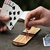 Travel Cribbage Board Birch Plywood with Dark Brown Leather