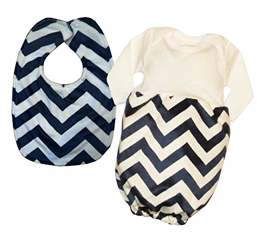 Caught Ya Lookin' Baby Bib Gift Set, Navy and White Chevron