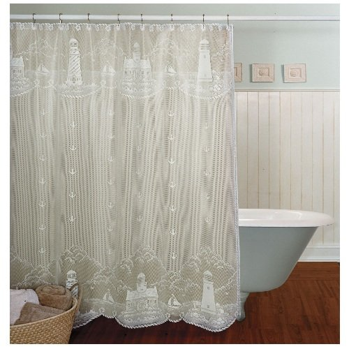heritage lace lighthouse 72 inch by 72 inch shower curtain white new