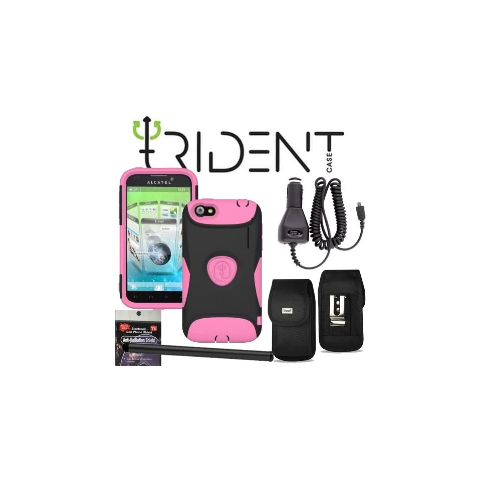 Alcatel Venture One Touch Ultra 995 Trident Aegis Pink Heavy Duty Protective Case, Hard Shell and Silicone Gel, with Screen Protector and Car Charger, Stylus Pen, Radiation Shield and Metal Clip Case that fits your phone with the Cover on it.