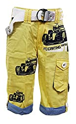 Fingerchips Boys Yellow Colour Go Carting 3/4th Shorts with matching belt (waist 30 )