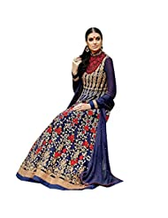 Blue And Red Georgette Designer Party Wear Anarkali Salwar Kameez Semi Stitched