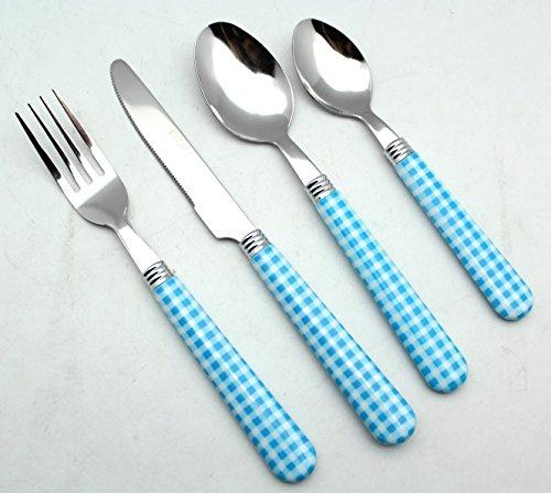 EXZACT Colore Posate in acciaio inox set 16 pz - 4 x Forchetta, 4 x Coltelli, 4 x Cucchiai Cena, 4 x Cucchiaini (Blu)