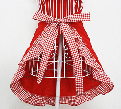 Hyzrz Cute Red Cotton Flirty Womens Aprons Fashion for Girls Vintage Cooking Retro Apron with Pockets Special 2