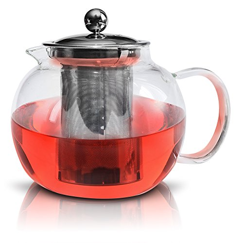 Glass Teapot By Kitchen Temptations - Microwavable and Stove top Tea Kettle and Tea Pot Strainer With Stainless Steel Loose Leaf Infuser Rust-Free and Holds 3-4 cups (Glass Mug Microwavable compare prices)