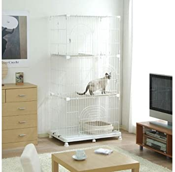 Wire Tower 3 Tier Small Animal Pet Cat Cage Pec-903 White