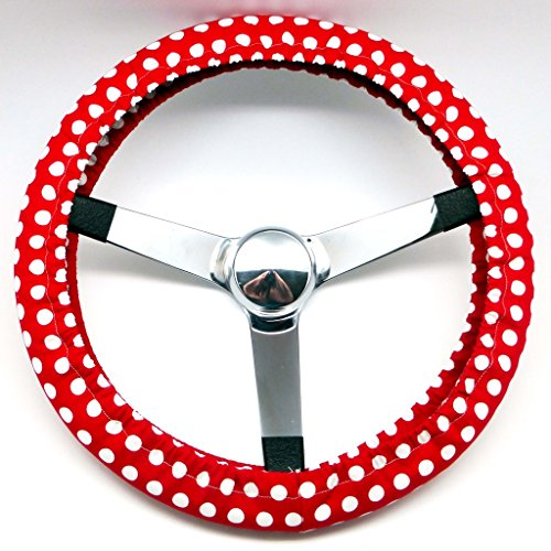 Mana Trading Handmade Steering Wheel Cover Red and White Dots (White Hubcaps 14 compare prices)