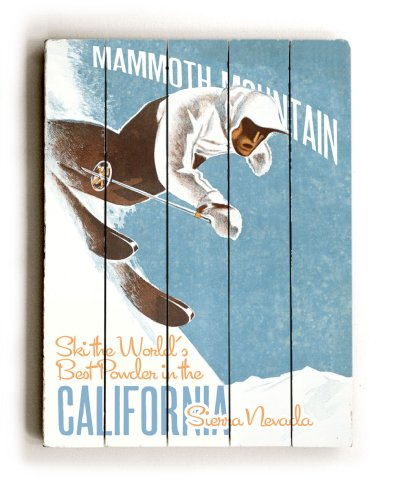 "ArteHouse planked wood sign 18"" x 24"" Vintage California Ski Wall Décor"