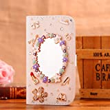 Locaa(TM) For Sony Xperia M2 S50h 3D Bling Cases Deluxe Luxury Crystal Pearl Diamond Rhinestone eye-catching Beautiful Leather Retro Support bumper Cover Card Holder Wallet Case - [General series] magic mirror