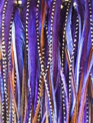 Feather Hair Extension 4To7 In Length 5 Dark Purple With Natural Brown Mix Feathers