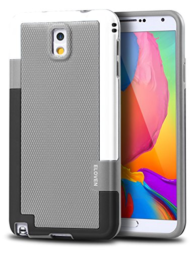 Note 3 Case, ELOVEN Ultra Slim 3 Color Hybrid Dual Layer Shockproof Case [Extra Front Raised Lip] Soft TPU & Hard PC Bumper Protective Case Cover for Galaxy Note 3 - Gray (Bumper Galaxy Note 3 compare prices)