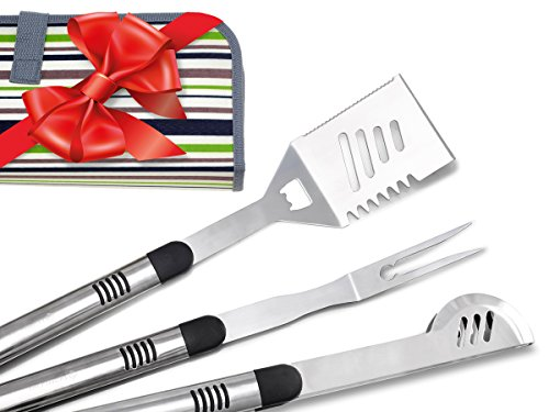 FIGTREE-CHEF 3 Piece BBQ Tools Set in Canvas Carry Case | Superb Match With Your Weber Grill | Perfect Holiday Gift | Includes Spatula, Fork & Tongs | Top Quality Grilling Tools You Can Rely On! (Travel Spatula compare prices)