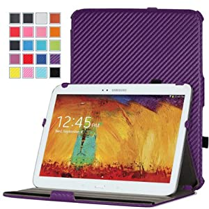 MoKo Samsung Galaxy Note 10.1 2014 Edition Case - Slim-Fit Multi-angle Stand Case for Note 10.1 Inch 2014 Edition Tablet, Carbon Fiber PURPLE (With Smart Cover Auto Wake / Sleep)