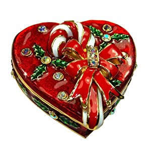 "Objet D'Art Release #321 ""Holiday Sweet"" Holiday Season Heart Candy Box Handmade Jeweled Metal & Enamel Trinket Box"