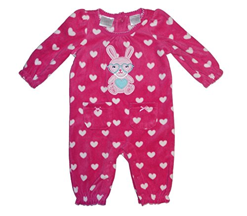Koala Kids Baby Girls Embroidered Fleece Easter Bunny Heart Dress Up Bodysuit Outfit