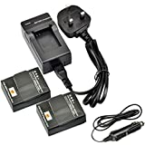DSTE® 2pcs AHDBT-302 Rechargeable Li-ion Battery + DC137U Travel and Car Charger Adapter for Gopro AHDBT-302, AHDBT-301, AHDBT-201 and Gopro HD Hero3+, Hero3 Digital Camera