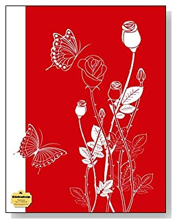 White Rosebuds On Red Notebook - Classy white and red drawing of rosebuds and butterflies make a dramatic cover for this wide ruled notebook.