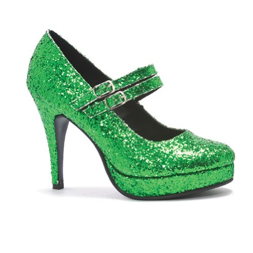 4 Inch High Heel Platform Glitter Mary Jane Shoes DOROTHY Theatre Costumes Accessory Green Glitter