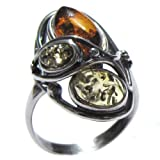 Multicolor Amber Sterling Silver Designer Ring