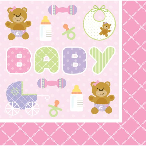 Creative Converting Baby Shower Teddy Baby Pink 16 Count 3-Ply Paper Lunch Napkins