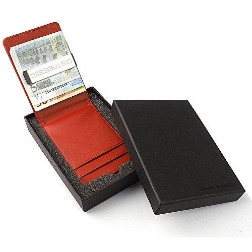 Distressed - Porta carte di credito con pinzetta in metallo per le banconote, in confezione regalo rosso
