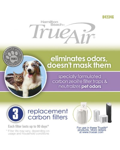 Hamilton Beach Replacement Carbon Pet Filter. Works with TrueAir 04384, 04386, 04532, 04532GM, & 04530. 3-Pack (04234G) (Hamilton Beach Replacement compare prices)