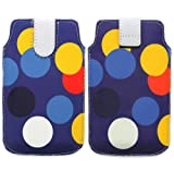 Wayzon Premium Eco PU Leather Secure Protection Pouch Holster Case Cover Sleeve Skin Wallet Multicoloured Circles On Blue Surface For HTC ChaCha