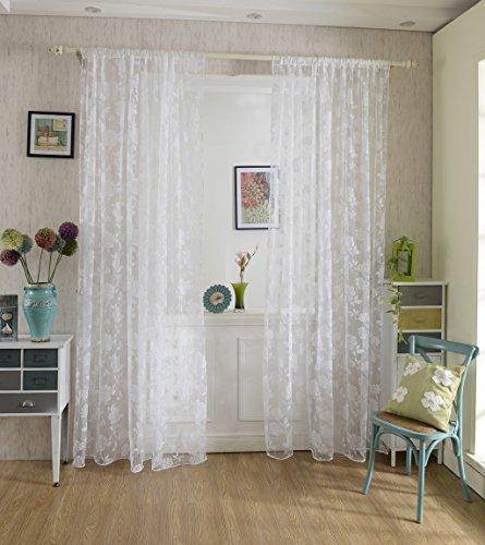 Voilage rideau en voile paravent motif de pivoine de flocage pour porte fen tre balcon 200cm x for Voilage pour porte fenetre
