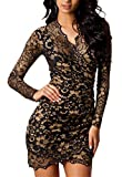 Cfanny Women's Vintage Lace Overlay Long Sleeves Wrap Cocktail Dress