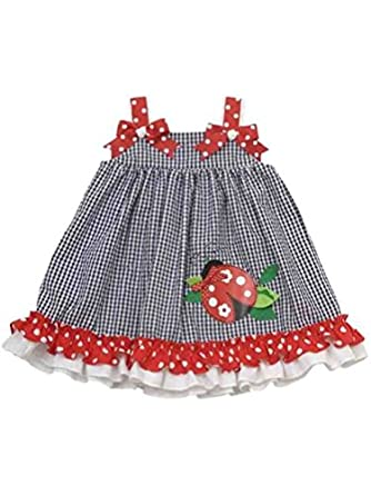 Rare Editions Baby Girl Ladybug Seersucker 2pc Dress Set (3m-18m)