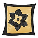 BIG LILY FLOWER PATCH CUSHION COVER BLACK & BEIGE 1 PC (40 X 40 CMS)