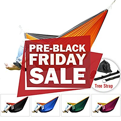 Yes4All Double and Single Hammocks- Ultralight Portable Nylon Parachute Hammock for Light Travel, Camping, Hiking, Backpacking. Hammock Stuff Bag Included