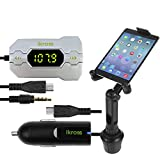 iKross 3.5mm In Car FM Transmitter w/ Car Charger + Cup Mount Holder Car Kit for Samsung Galaxy Tab 4 NOOK/ Tab... by iKross