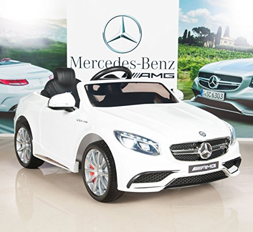 Mercedes-Benz-S63-Ride-on-Car-Kids-RC-Car-Remote-Control-Electric-Power-Wheels-W-Radio-MP3-White
