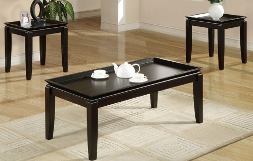 3pc Coffee Table and End Tables Set Tray Top Design in Espresso