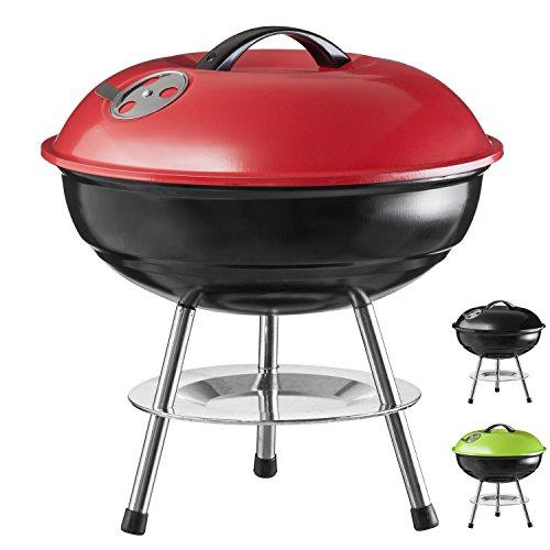 Micro-BBQ-Kugelgrill-kompakter-Reise-Holzkohle-Grill-Tischgrill-Edelstahl-emailliert-38cm-Rot