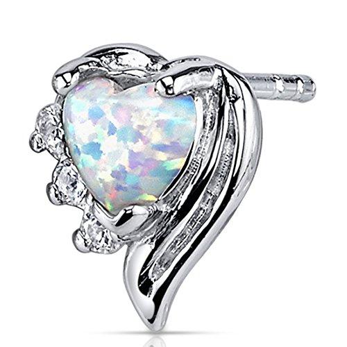 Created Opal Earrings Sterling Silver Heart Shape 1.00 Carats