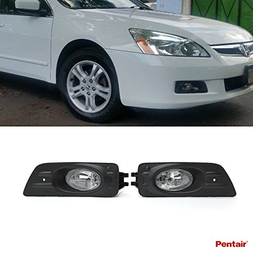 Pentair 2pcs Aftermarket JDM Clear Lens Fog Lights Kit With Light Bulbs+Cover+Switch+Wiring Harness+Relay+Bracket & Necessary Mounting Hardware For 2006-2007 Honda Accord 4-Door Sedan Model (07 Accord Fog Light Kit compare prices)