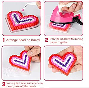 Card Paper with Pattern and Tweezer Fuse Beads AOWA 5mm 5 Pcs Fuse Bead with Pattern Pegboard Art Craft Toy Kit Including Different Shape Clear Board Type Random