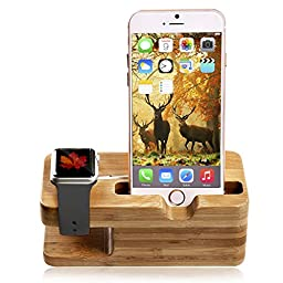 Apple Watch Stand, Bamboo Wood New Edition Waterproof Night Accessories Charging Station Stand Cradle Holder for Iphone and Iwatch 38 Mm and 42 Mm By Tophot 2 in 1 Tablet Organizer