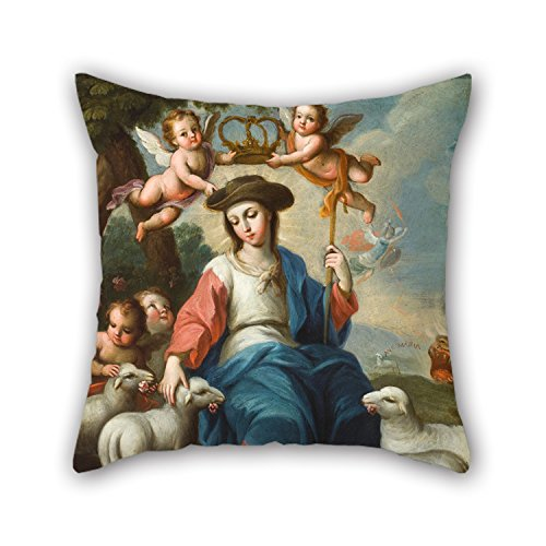 Uloveme Oil Painting Miguel Cabrera - The Divine Shepherdess (La Divina Pastora) Cushion Covers 16 X 16 Inches / 40 By 40 Cm Gift Or Decor For Family,deck Chair,girls,wedding,floor,bedroom - (Shepherdess Costume)