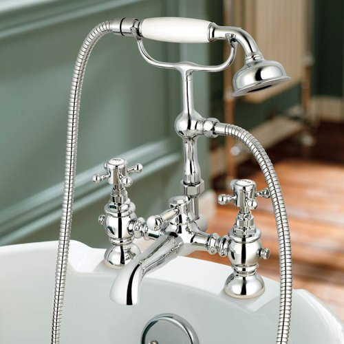 Edward Bathroom Taps - Chrome Bath Filler Mixer Tap wit