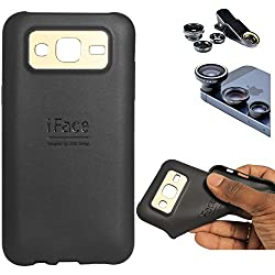 DMG iFace Scratch-Resistant Slim Silicone Shock Proof TPU Back Cover Case for Samsung Galaxy J7 J700 (Black) + 3in1 Fisheye Wide Angle and Macro Lens
