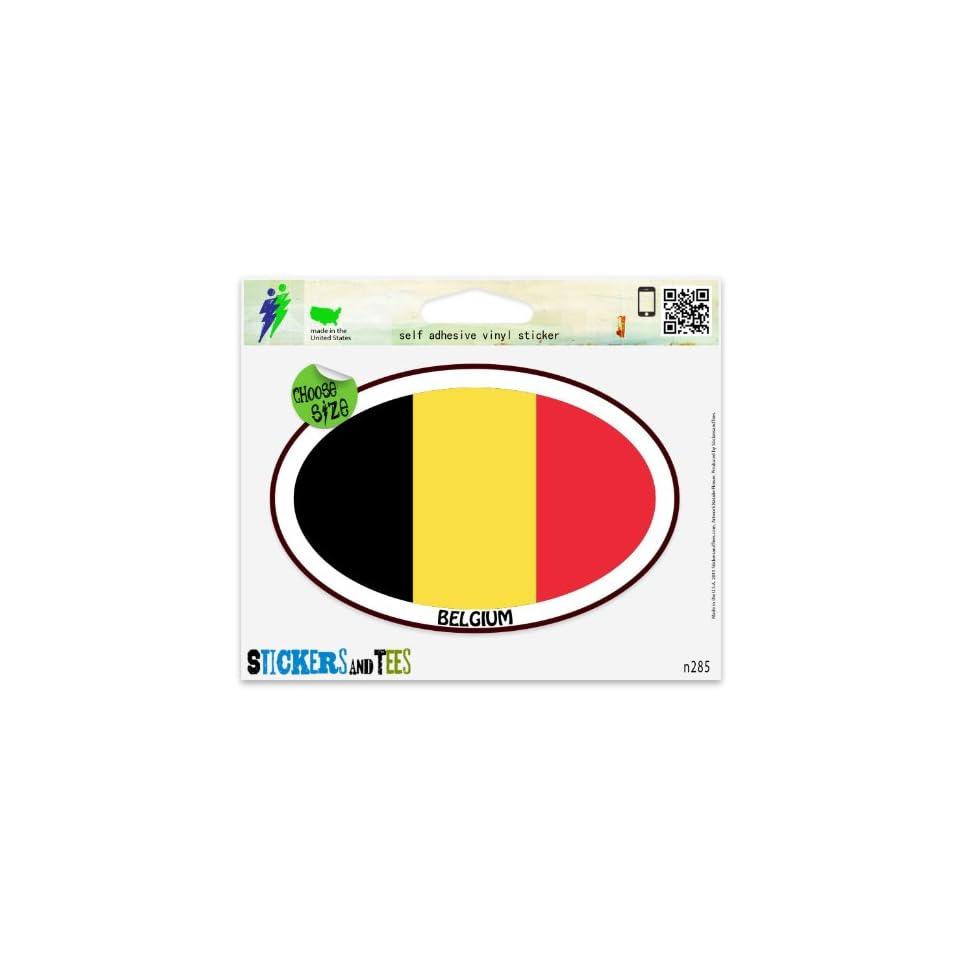 Belgium Euro oval Car Sticker Indoor Outdoor 5 x 3